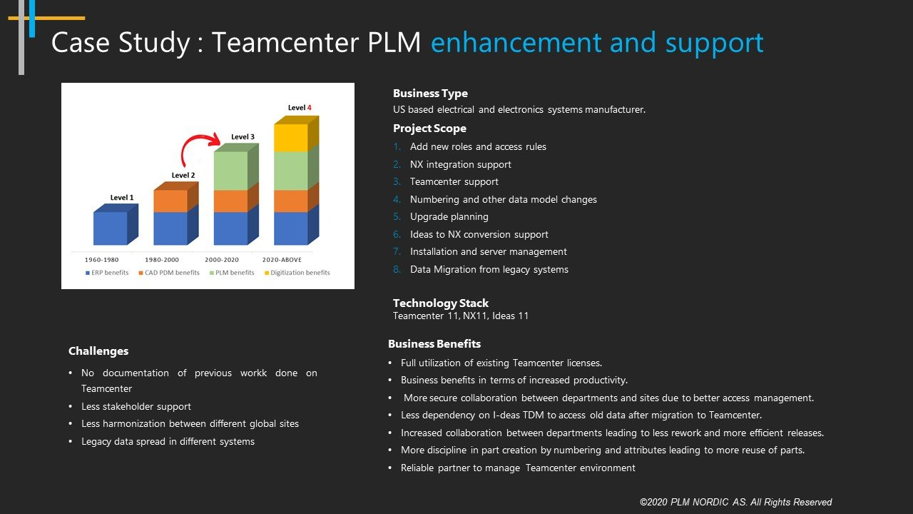 case study teamcenter plm enhancement and support challenges and project scope technology stack teamcenter 11